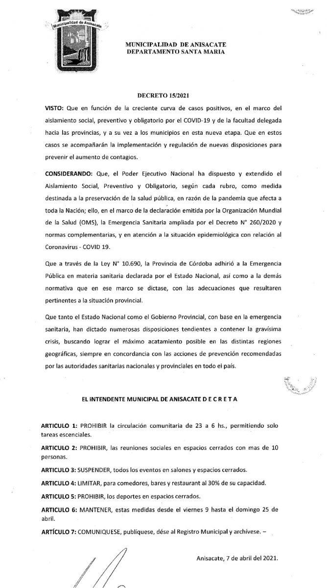decreto anisacate - Anisacate restringe circulación comunitaria entre las 23 y 6 de la mañana